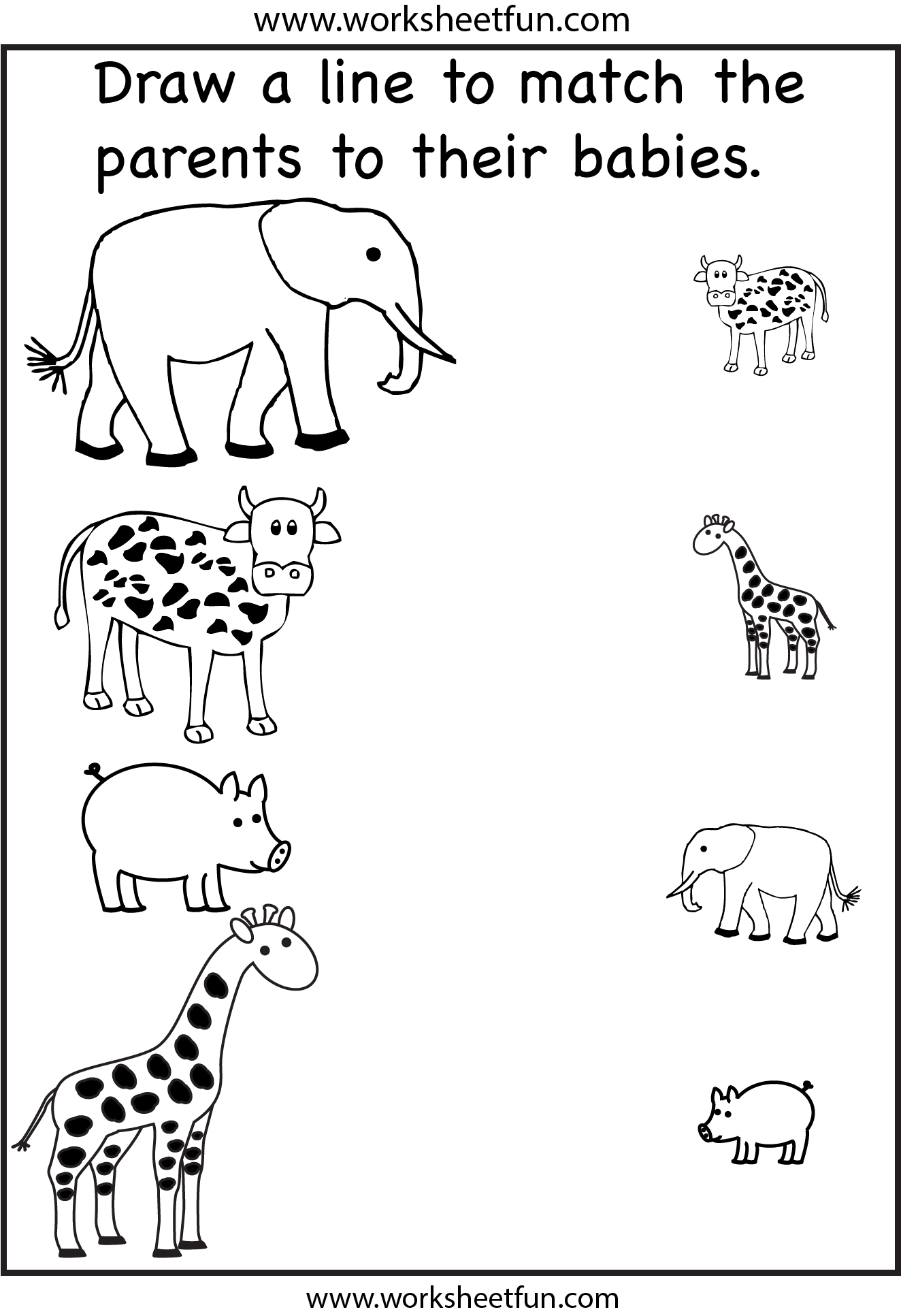 Match the Parents 2 Worksheets FREE Printable Worksheets – Kindergarten Matching Worksheets