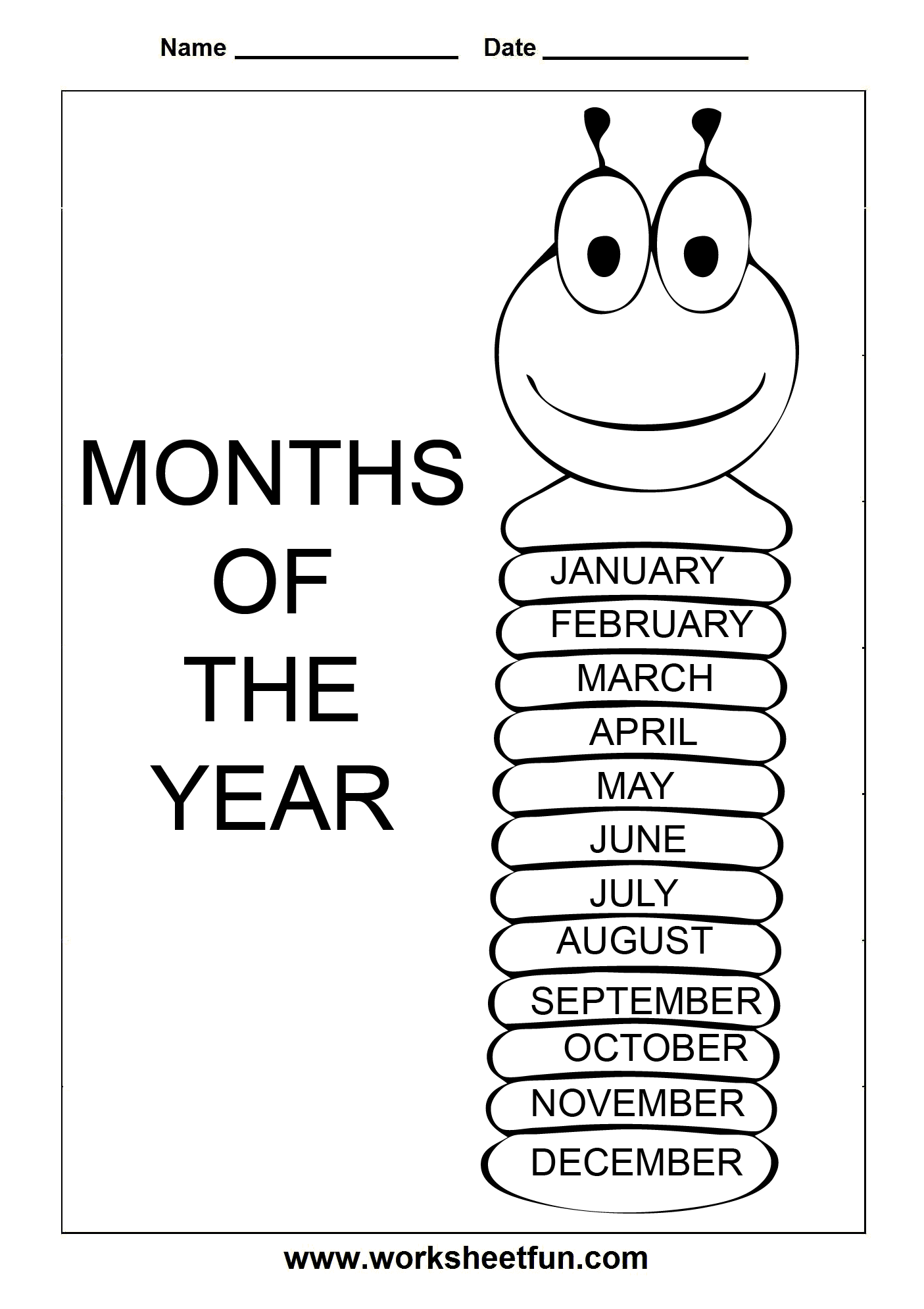 Months of the Year – Spelling chart – January, February, March ...