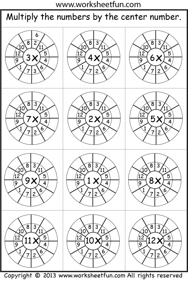 Times Table Worksheets 1 2 3 4 5 6 7 8 9 10 11 12 13 – Free Multiplication Fact Worksheets
