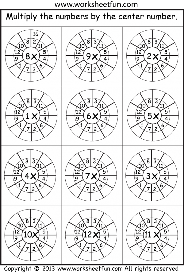 Times Table Worksheets 1 2 3 4 5 6 7 8 9 10 11 12 13 – Multiplication Picture Worksheets