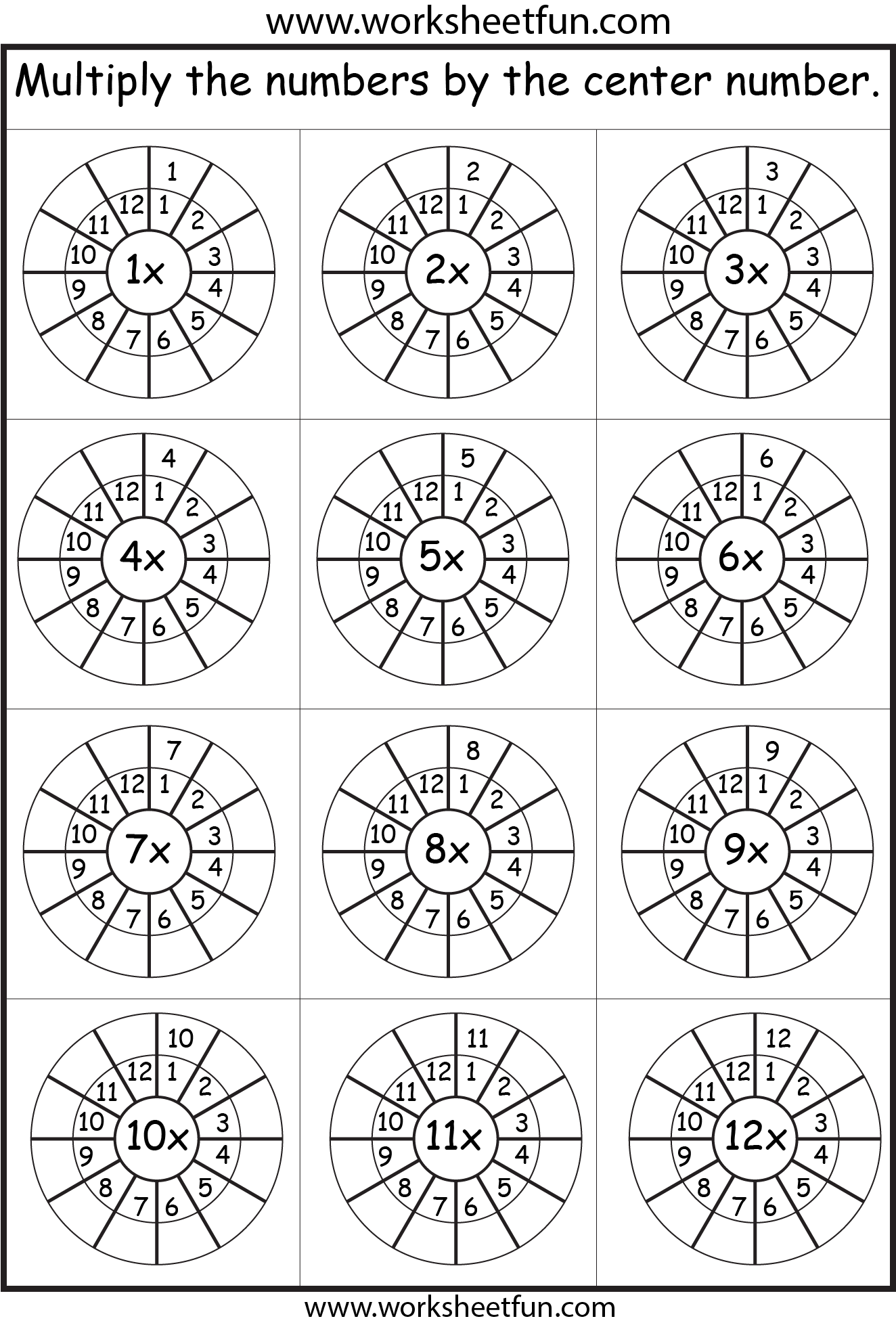 Times Table 212 Worksheets 1 2 3 4 5 6 7 8 9 10 11 – Multiplication by 12 Worksheets