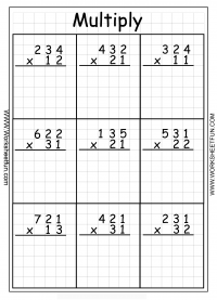 math worksheet : multiplication  3 digit by 2 digit  twenty two worksheets  free  : Two Digit By One Digit Multiplication Worksheet