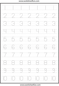 Number Tracing – 4 Worksheets