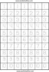 Number Tracing – One Worksheet