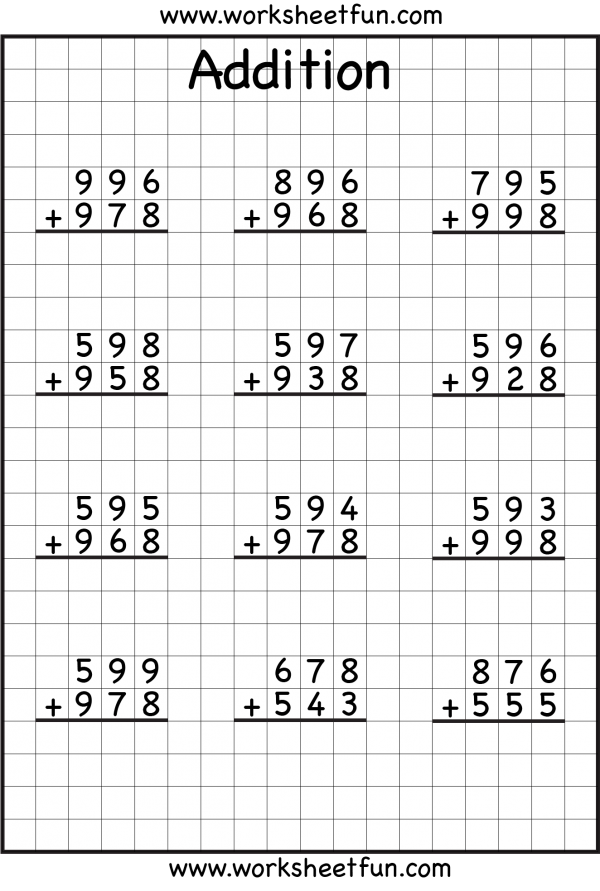 math worksheet : 3 digit addition with regrouping  carrying  6 worksheets  free  : Addition Worksheet Free