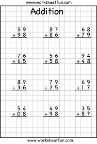 math worksheet : 2 digit addition with regrouping  carrying  5 worksheets  free  : 2 Digit Plus 1 Digit Addition Worksheets