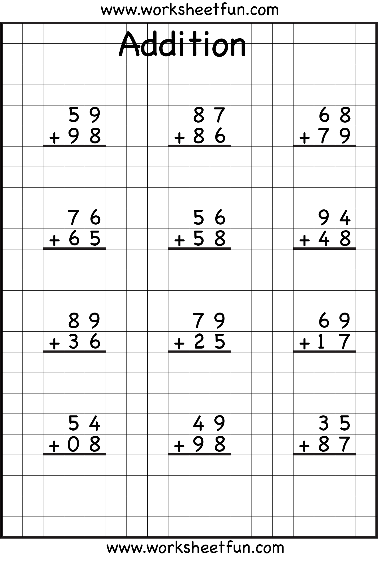 ... digit addition with regrouping along with two digit addition