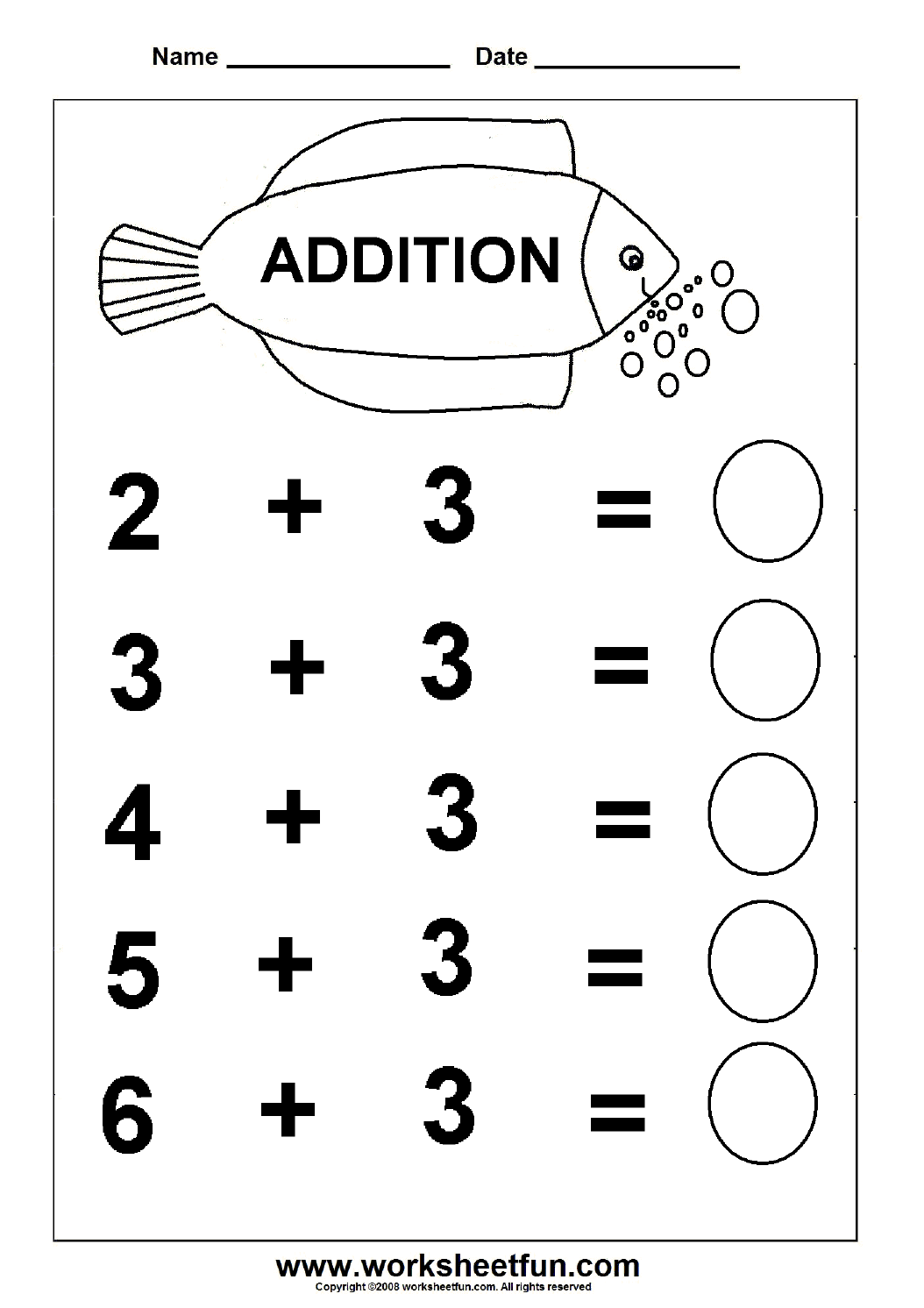 Beginner Addition 6 Kindergarten Addition Worksheets FREE – Free Math Fact Worksheets