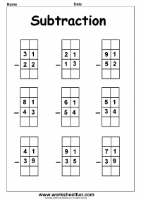2 Digit Borrow Subtraction – Regrouping – 5 Worksheets