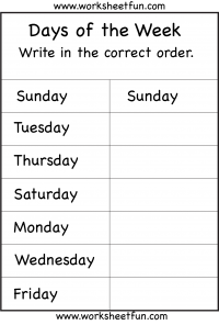 Days of the Week – 1 Worksheet