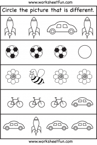 Circle the picture that is different – 1 Worksheet / FREE Printable ...