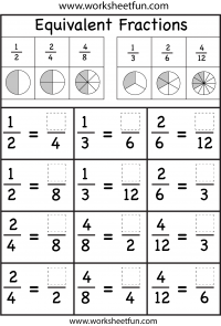 fractions  equivalent  free printable worksheets  worksheetfun equivalent fractions worksheet