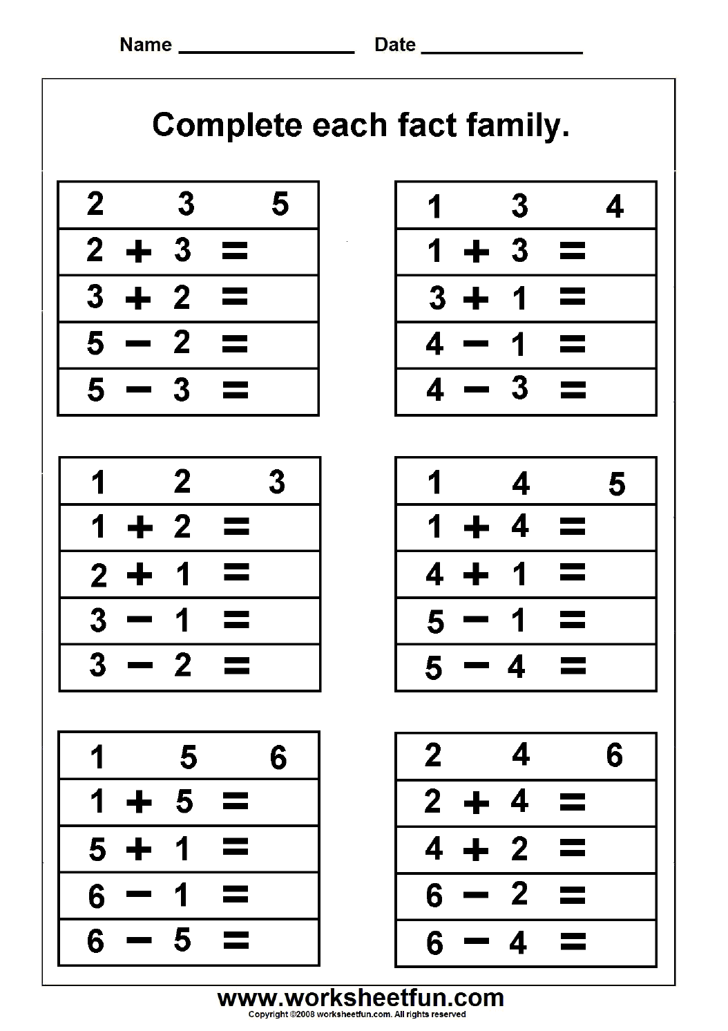 Numbers Fact Family FREE Printable Worksheets Worksheetfun – Addition Facts Worksheet 1st Grade