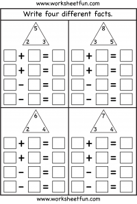 Numbers Fact Family Free Printable Worksheets \u2013 Worksheetfun 1st Grade Math Addition Worksheets Fact Family \u2013 Complete Each Fact Family \u2013 4 Worksheets