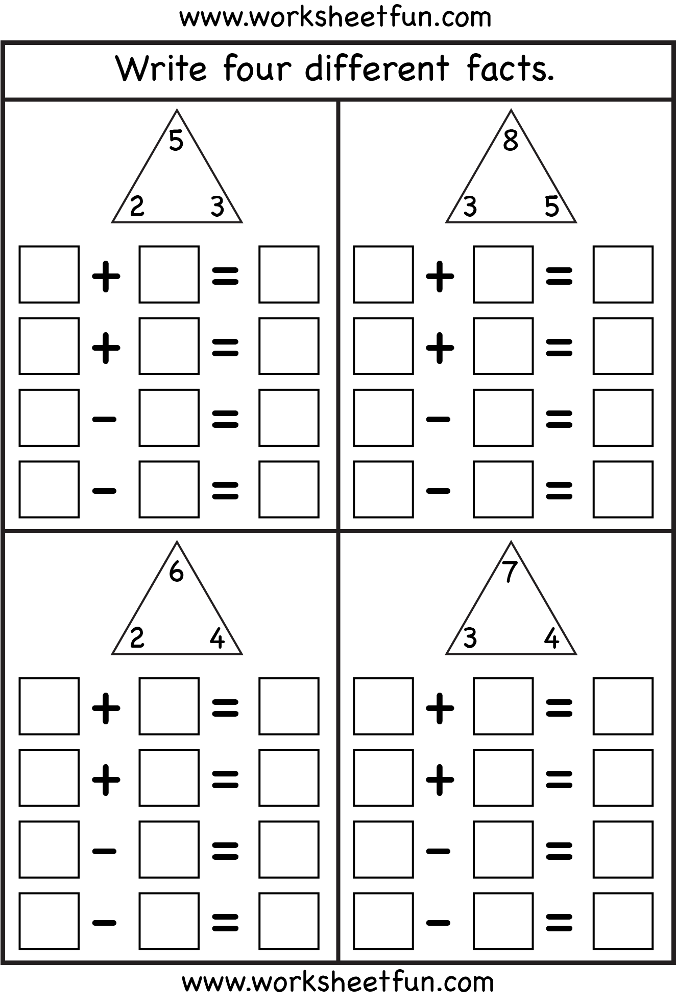 Fact Family – Complete each fact family – 4 Worksheets / FREE ...