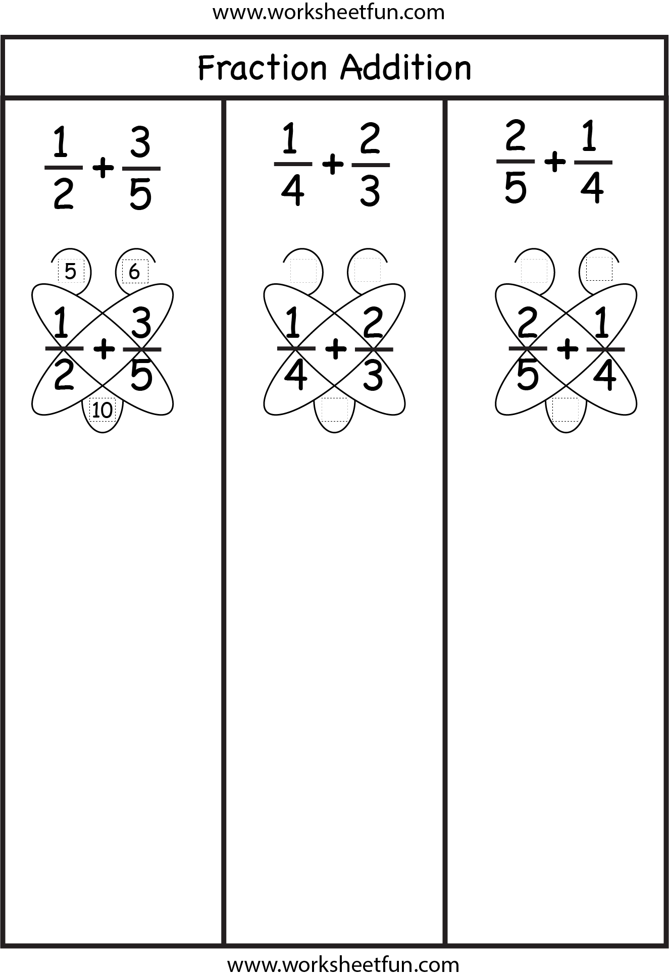Fraction Addition – Butterfly Method / FREE Printable Worksheets ...