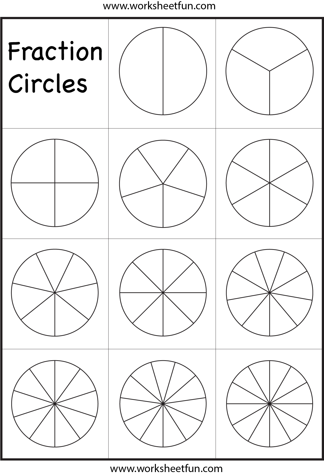 image relating to Circles Printable named Portion Circles Template Printable Portion Circles 1
