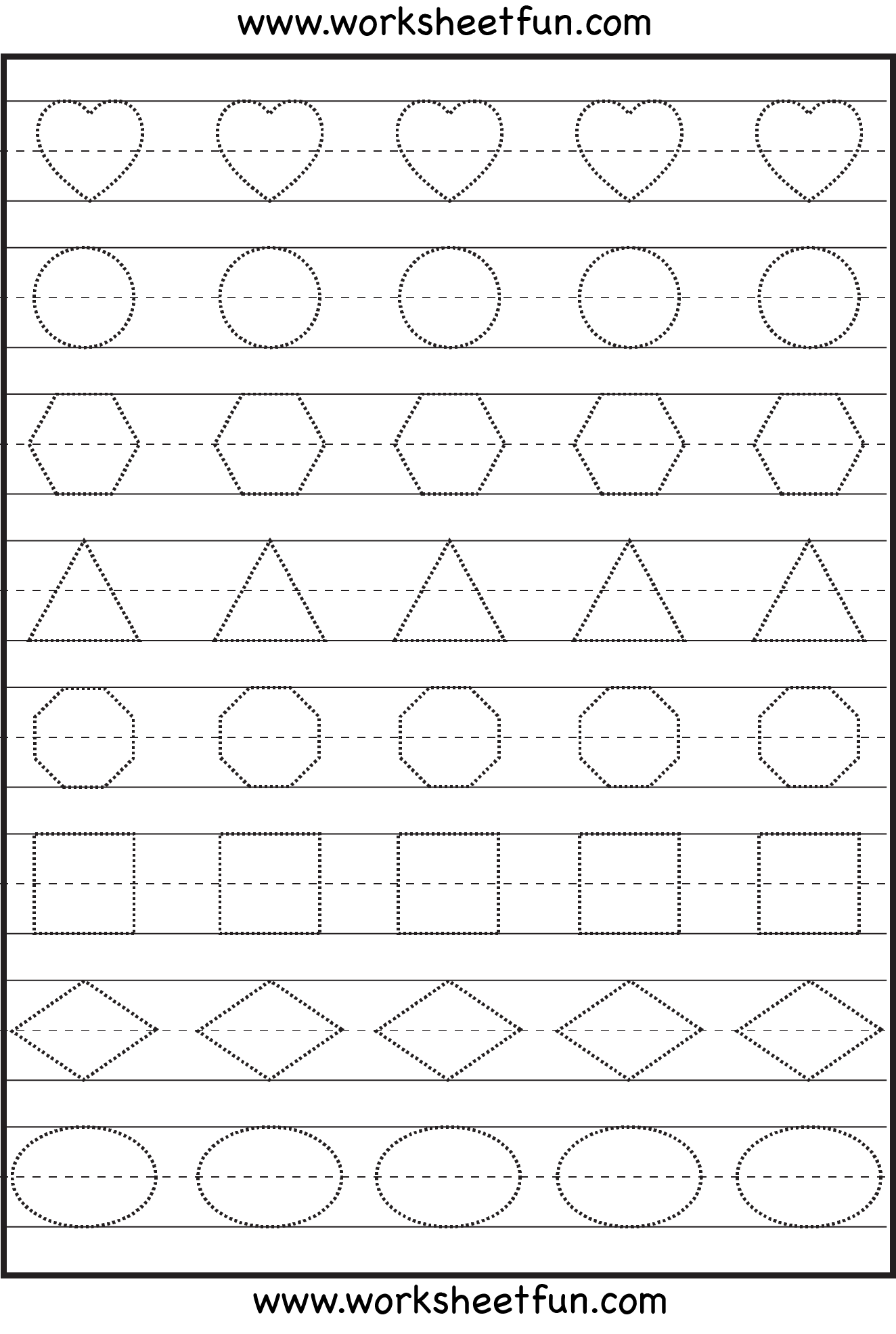 Preschool shapes tracing worksheet – Identify Shapes – Heart