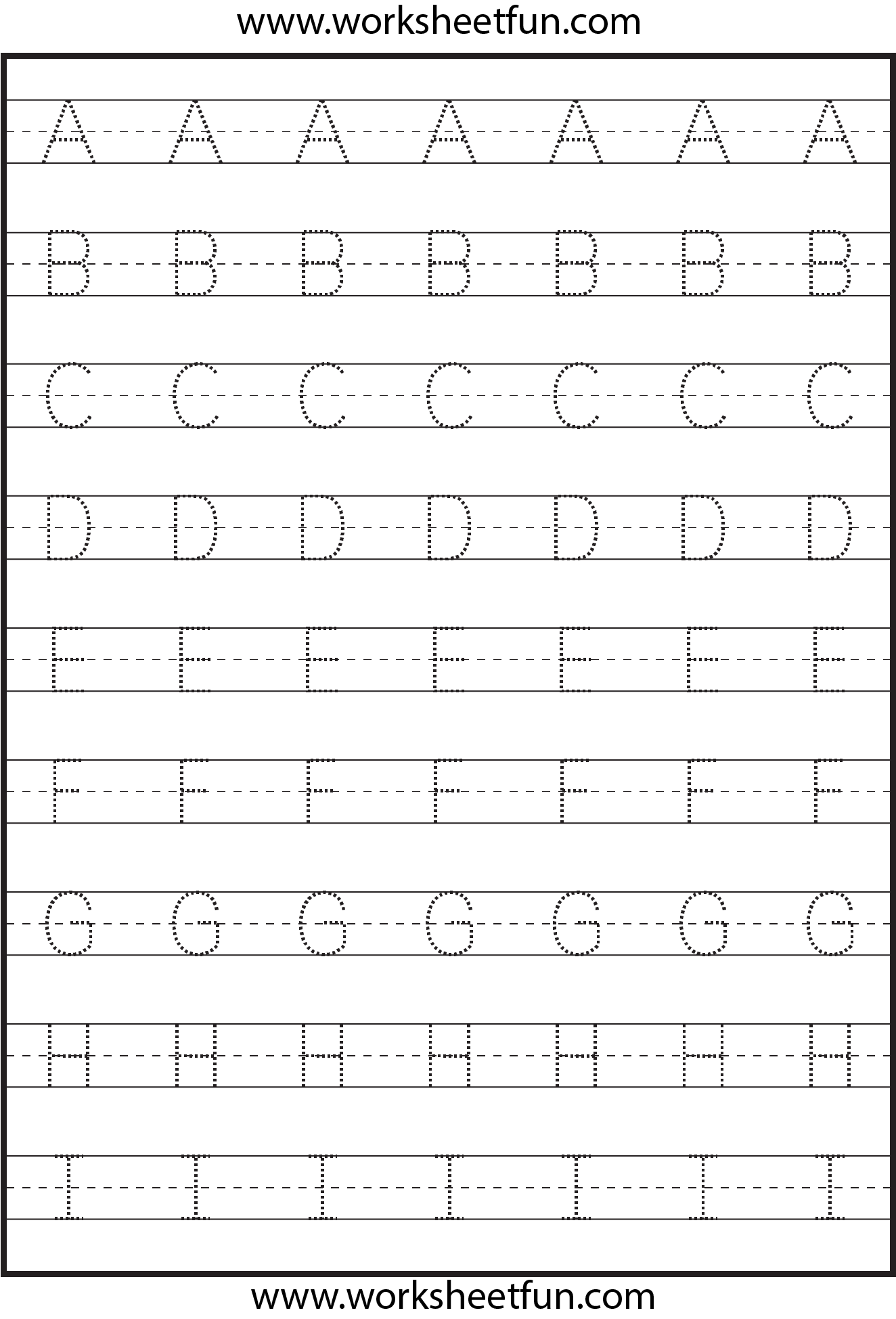 math worksheet : tracing  uppercase letters  capital letters  3 worksheets  : Tracing Alphabet Worksheets For Kindergarten
