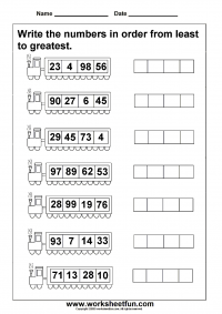Ordering Numbers Worksheets