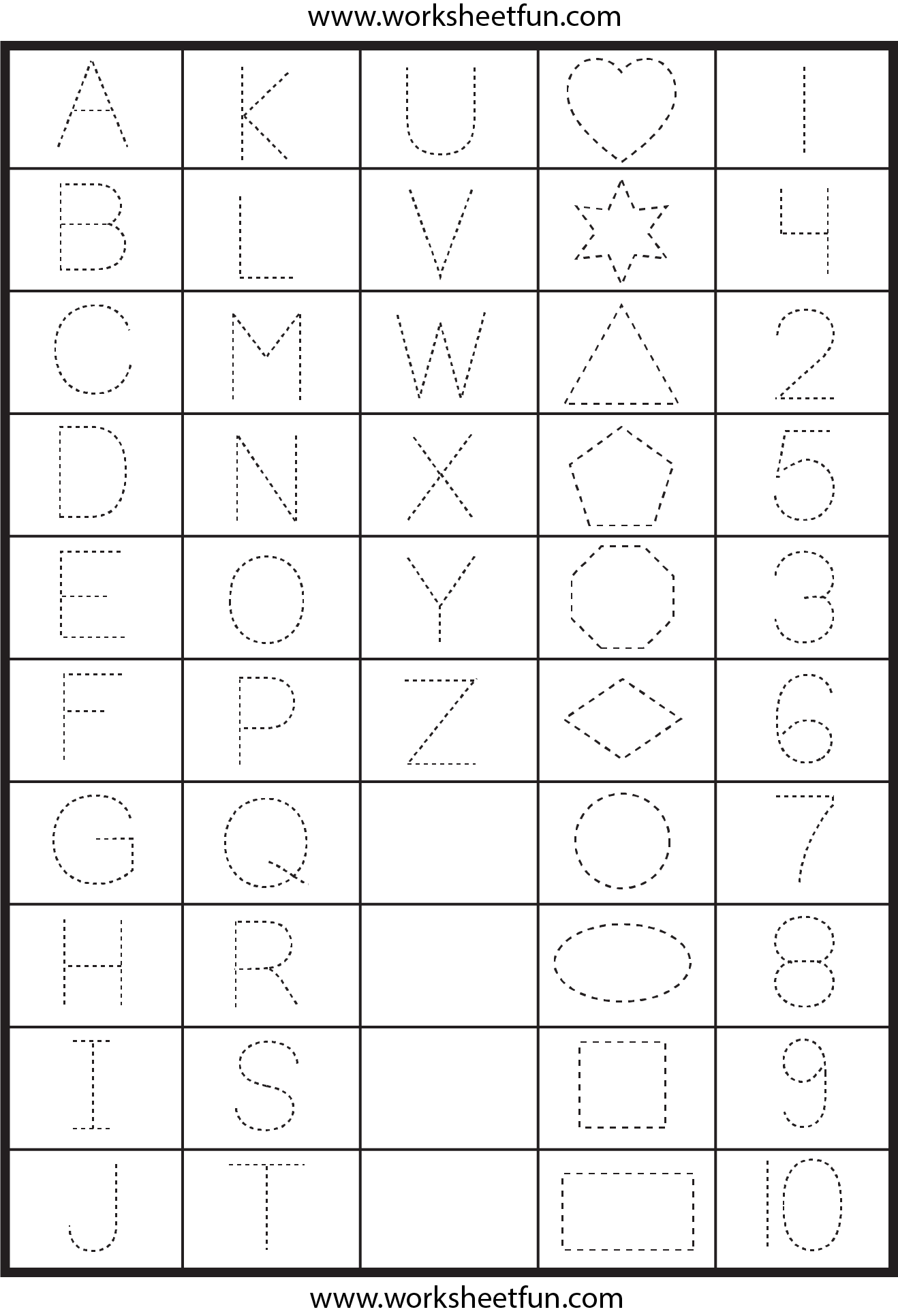 Worksheets Pre K Alphabet Tracing Worksheets letters numbers and shapes tracing worksheets free printable preschool letter tracing