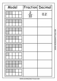 math worksheet : model  fraction  decimal  2 worksheets  free printable  : Fractions To Decimal Worksheet