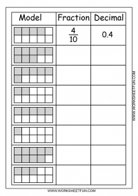 math worksheet : model  fraction  decimal  2 worksheets  free printable  : Fraction Decimal Percent Worksheets