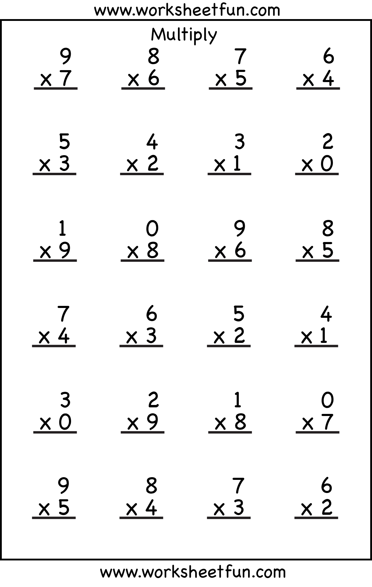 Printables Single Digit Multiplication Worksheets Printable Free single digit multiplication worksheets abitlikethis 4 multiplication