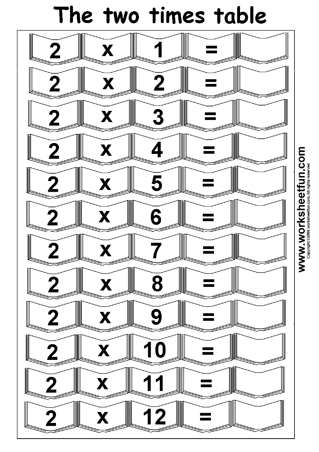 worksheet Two Times Table Worksheet multiplication times tables worksheets 2 3 4 5 table