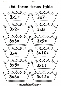 Worksheets 3 Multiplication Worksheets multiplication times tables worksheets 2 3 4 6 7 8 9 10 table