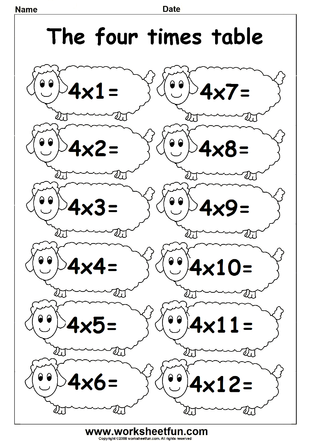 Times Table – 4 Times Table / FREE Printable Worksheets – Worksheetfun