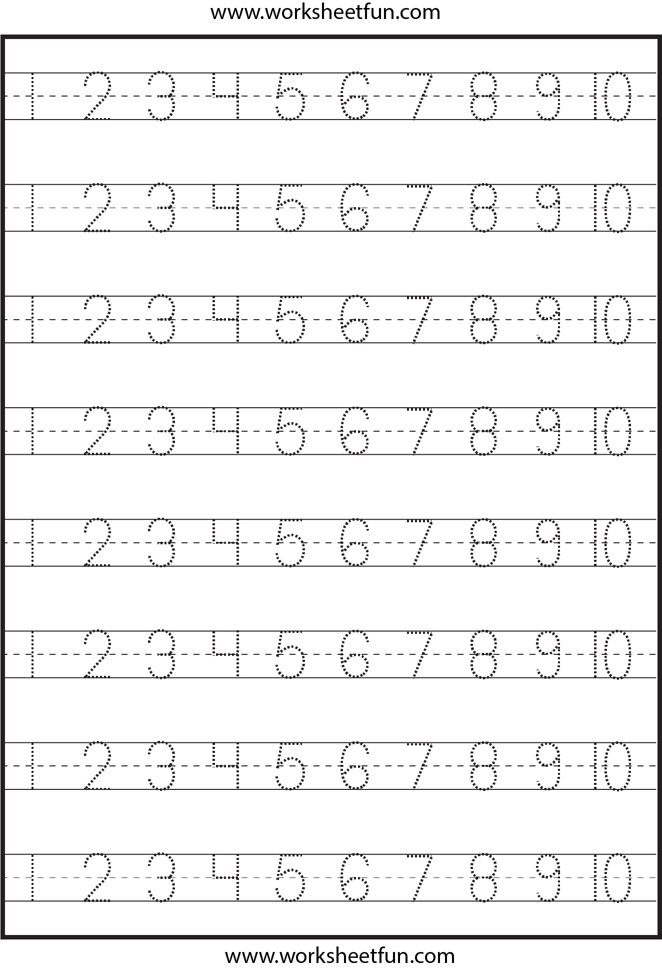 math worksheet : number tracing  1 10  worksheet  free printable worksheets  : Free Printable Tracing Worksheets For Kindergarten