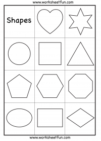 Preschool – Heart, Star, Circle, Square, Triangle, Pentagon, Hexagon, Octagon, Oval, Rectangle and Diamond – Shapes Worksheet