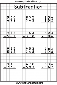 math worksheet : subtraction regrouping  free printable worksheets  worksheetfun : Subtraction Worksheets Year 4