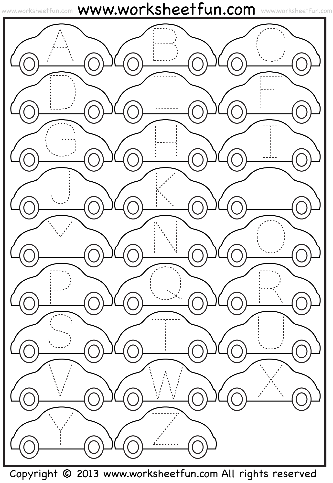 Worksheets Tracing Alphabet Worksheets tracing letter free printable worksheets worksheetfun worksheet car