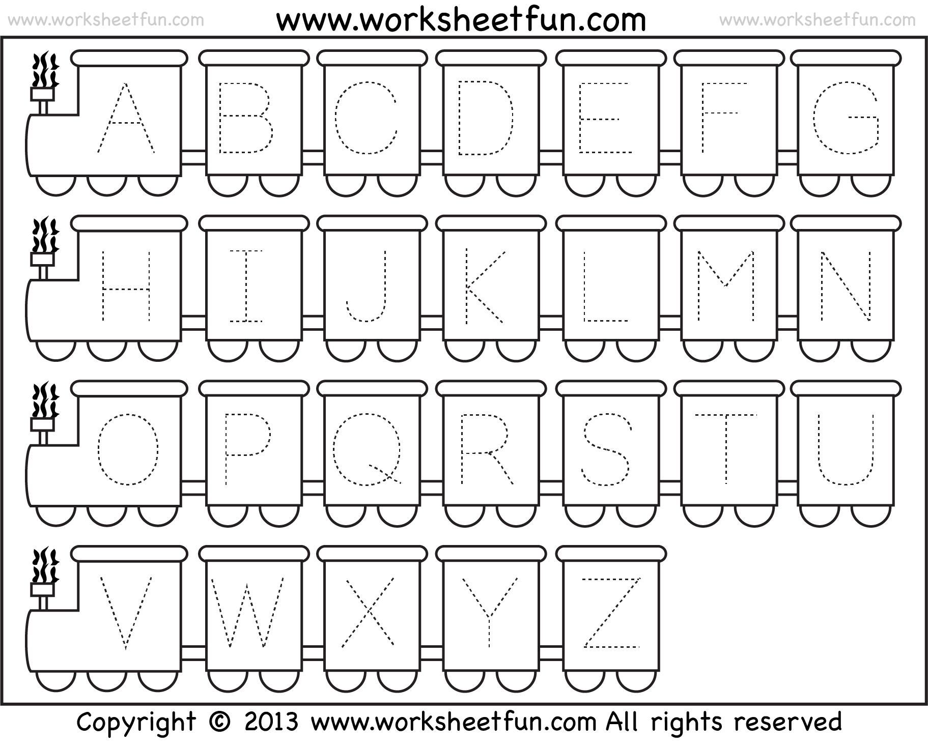 Letter Tracing Worksheet Train Theme FREE Printable Worksheets – Free Alphabet Tracing Worksheets