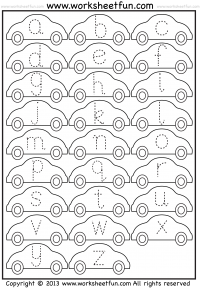 Printables Alphabet Tracing Worksheet tracing letter free printable worksheets worksheetfun small lowercase worksheet car