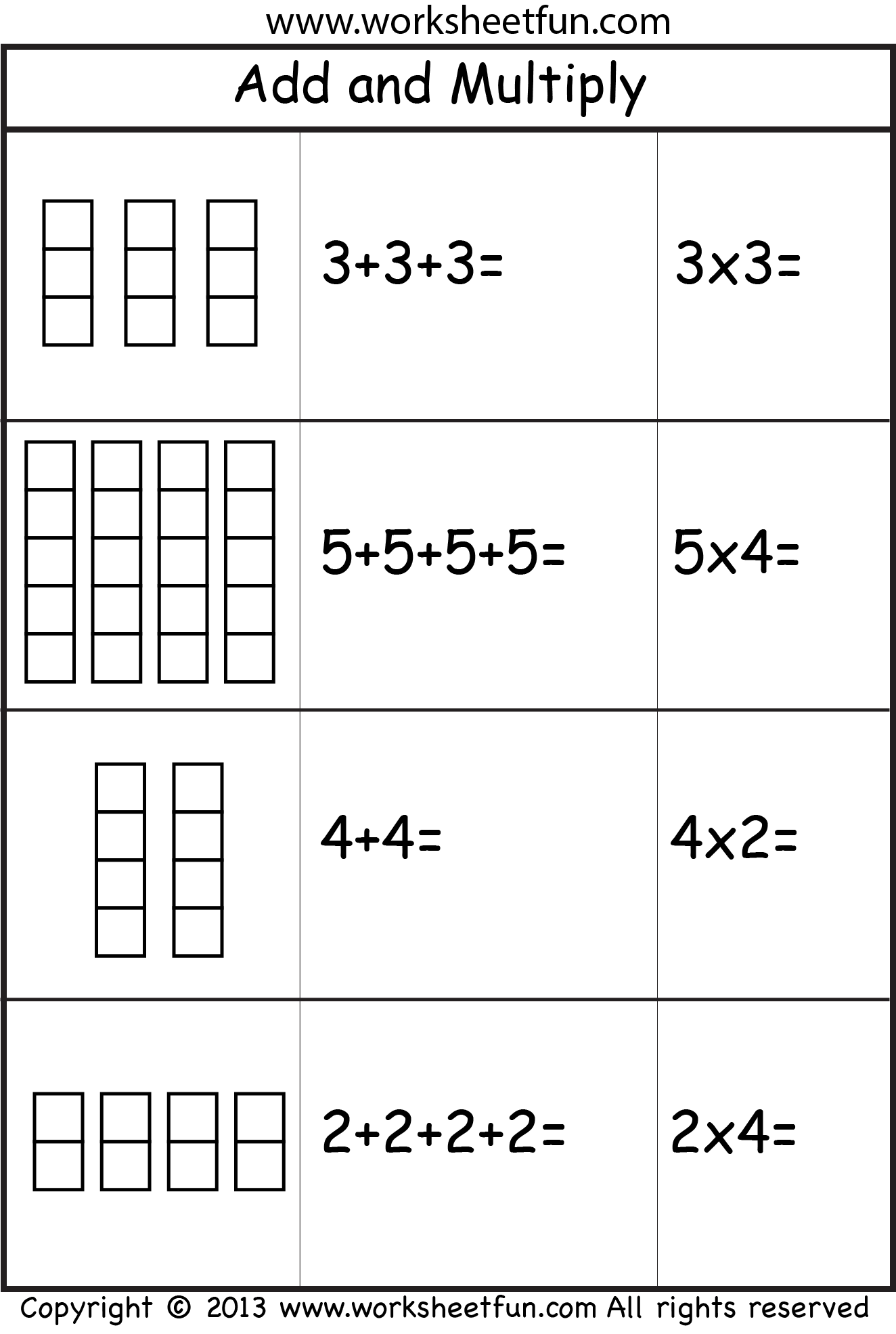 multiplication add and multiply repeated addition two worksheets free printable. Black Bedroom Furniture Sets. Home Design Ideas