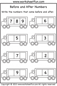 Before and After Numbers – 4 Worksheets