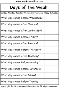 ... – Days of the Week / FREE Printable Worksheets – Worksheetfun