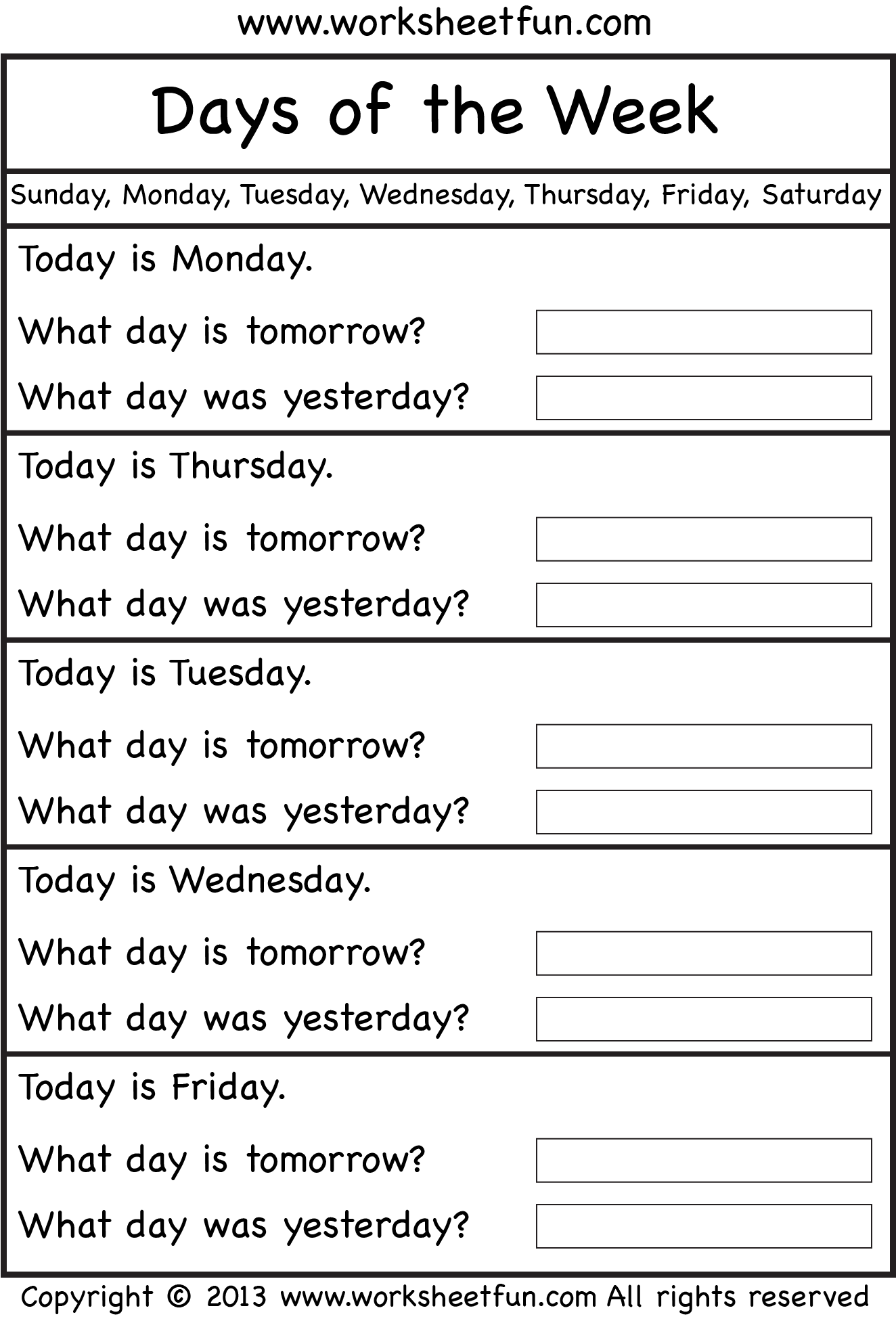 Nifty image in days of the week printable worksheets