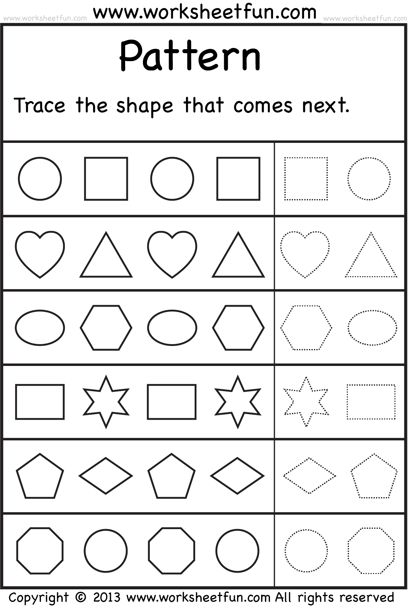 patterns trace the shape that comes next 2 worksheets free printable worksheets worksheetfun. Black Bedroom Furniture Sets. Home Design Ideas