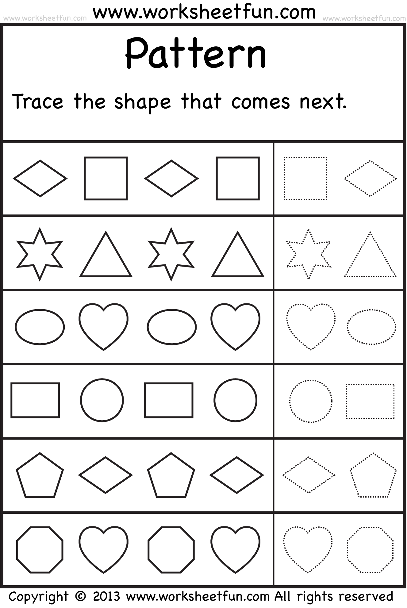Worksheet Patterns Kindergarten Worksheets patterns trace the shape that comes next one worksheet free pattern more preschool worksheets