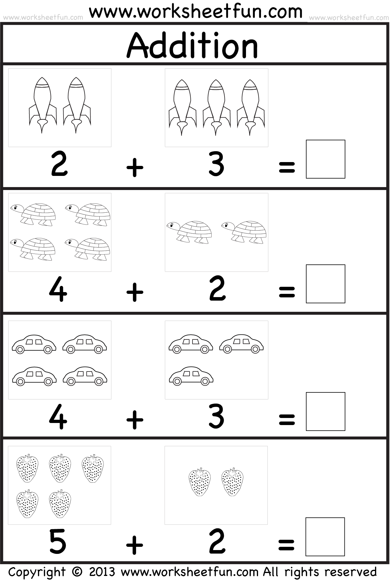 Picture Addition u2013 Beginner Addition u2013 Kindergarten Addition u2013 5 Worksheets / FREE Printable ...
