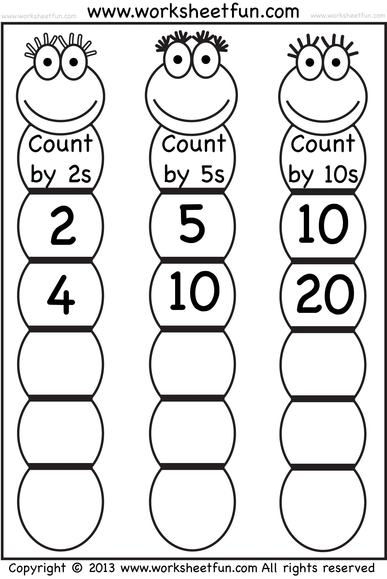 worksheet Skip Count skip counting by 2 5 and 10 worksheet free printable skipcounting bug wfun 1