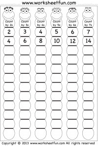 math worksheet : skip counting by 2 3 4 5 6 and 7  worksheet  free printable  : Skip Counting Worksheets For Kindergarten