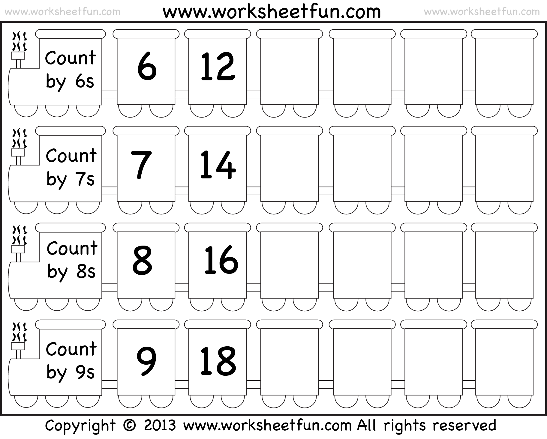 Skip Counting by 6, 7, 8 and 9 – Worksheet / FREE Printable ...