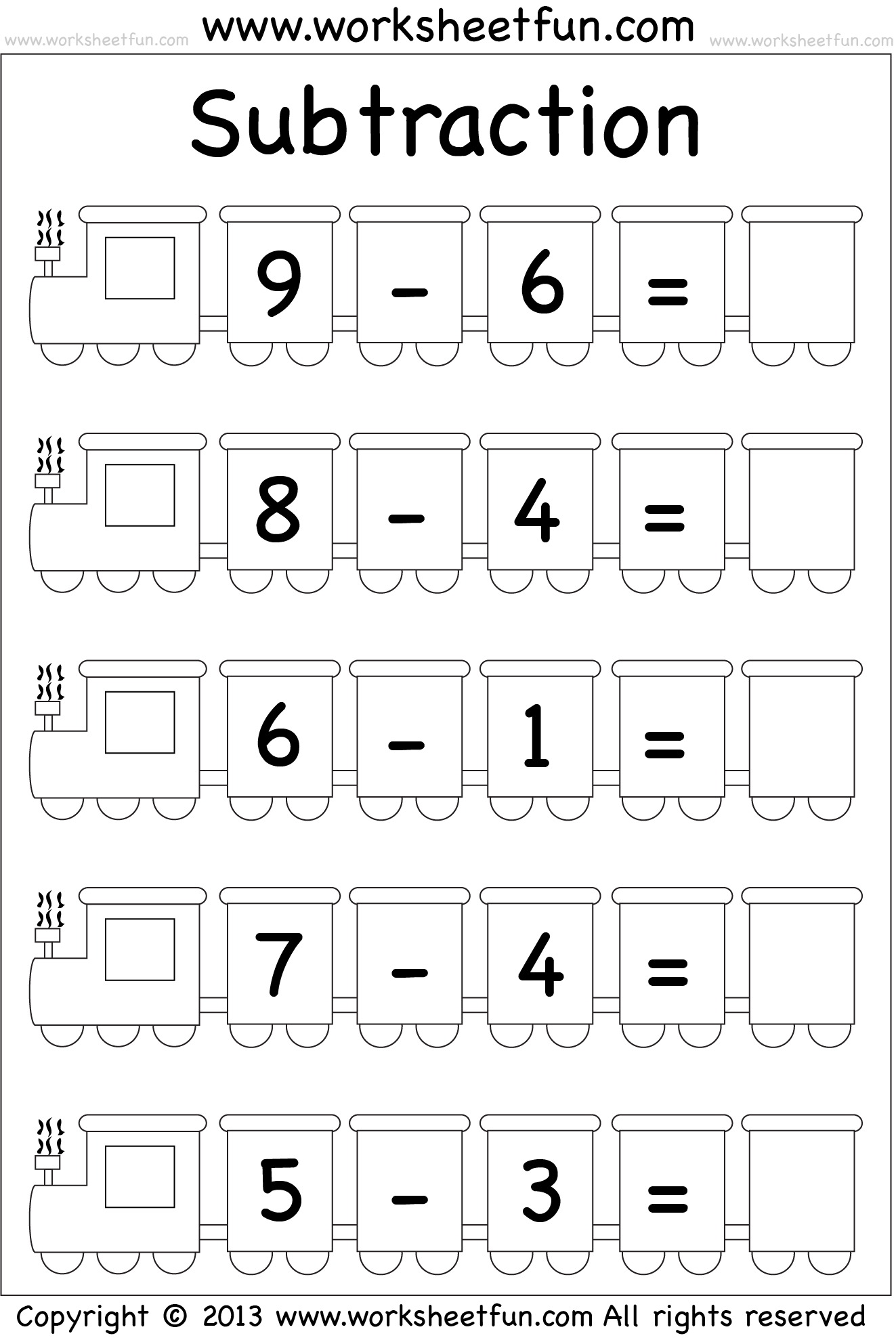 Beginner Subtraction – 5 Kindergarten Subtraction Worksheets / FREE ...