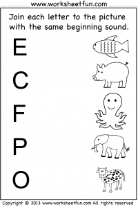 Printables Free Printable Kindergarten Phonics Worksheets kindergarten worksheets free printable worksheetfun beginning sound