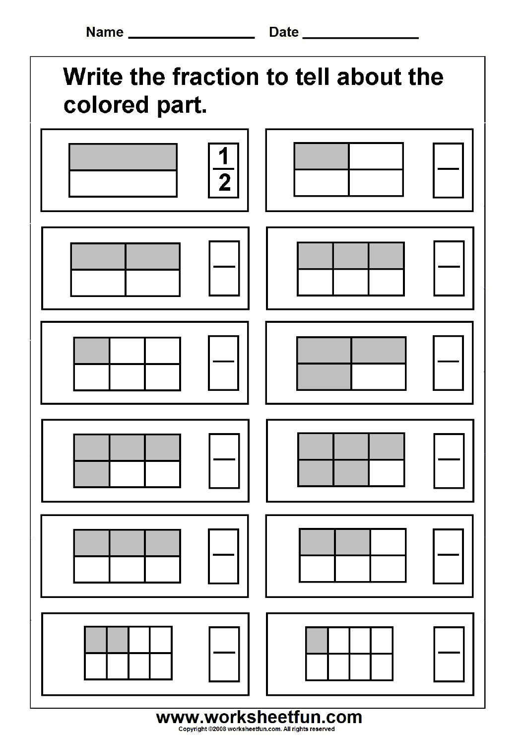 fraction  free printable worksheets  worksheetfun fraction  model   worksheets